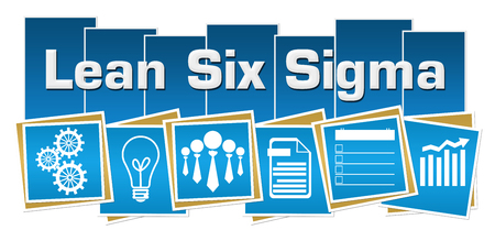 Lean Six Sigma Business Symbols Blue Squares Stripes