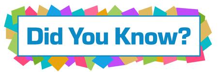 Did You Know Colorful Random Shapes Horizontal Stock fotó