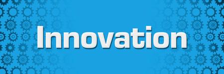 Innovation Blue Gears Background Horizontal Stockfoto