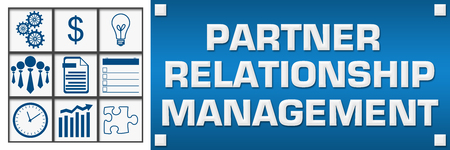 Partner Relationship Management Business Symbols Grid Left Stock Photo