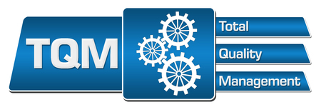TQM - Total Quality Management Blue Rounded Squares Horizontal Standard-Bild
