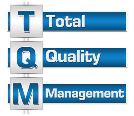 TQM - Total Quality Management Blue Grey Squares Block