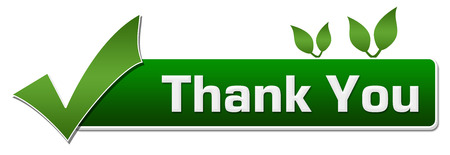 Thank You Green Leaves Tick Mark Banque d'images