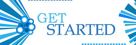 Get Started Blue Graphics Horizontal Stockfoto