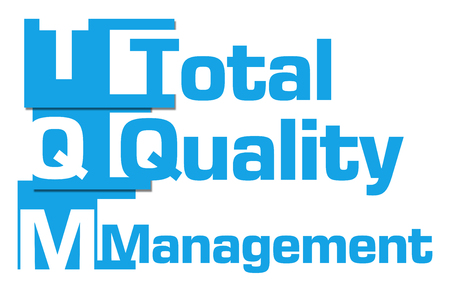 TQM - Total Quality Management Abstract Blue Stripes