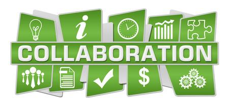 Collaboration Green Symbols Top Bottom Stock Photo