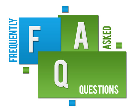 FAQ - Frequently Asked Questions Green Blue Squares Text