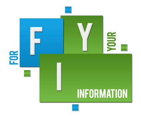 FYI - For Your Information Green Blue Squares Text Stok Fotoğraf