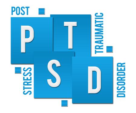 PTSD - Post Traumatic Stress Disorder Blue Squares Text