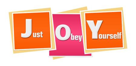 JOY - Just Obey Yourself Pink Orange Blocks