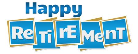 Happy Retirement Blue Blocks Text