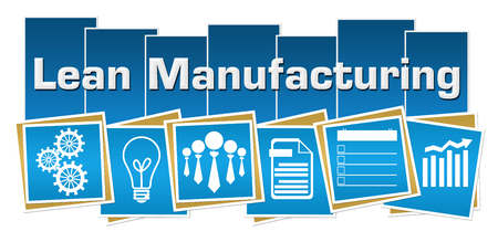 Lean Manufacturing Business Symbols Blue Squares Stripes