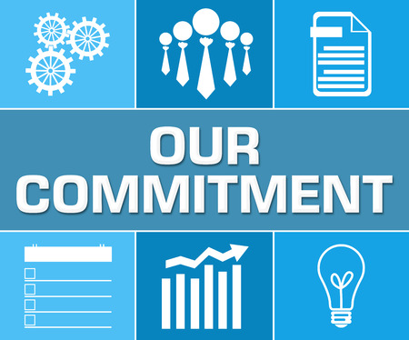 Our Commitment Business Symbol Blue Grid