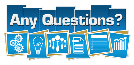 Any Questions Business Symbols Blue Squares Stripes Stock Photo