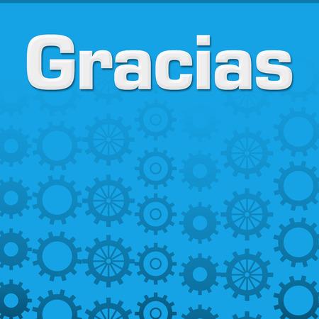 Gracias Blue Gears Background Stock Photo