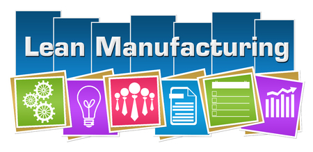 Lean Manufacturing Business Symbols Colorful Squares Stripes Stock Photo