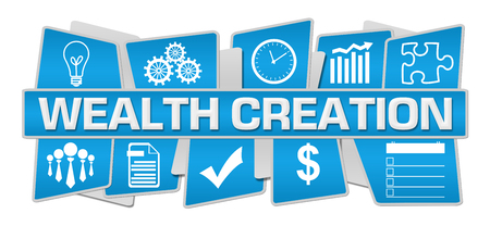 Wealth Creation Blue Up Down Symbols Stockfoto