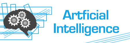 Artificial Intelligence Blue Strokes Symbol Horizontal Archivio Fotografico