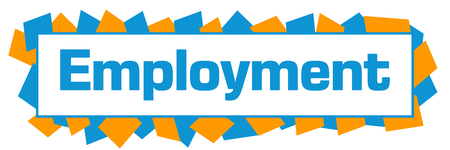 Employment Blue Orange Random Shapes Horizontal Stock Photo
