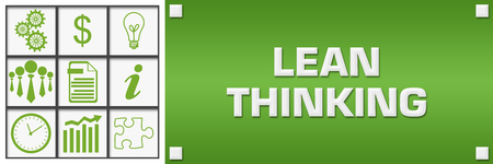 Lean Thinking Green Business Symbols Grid Left Stock Photo