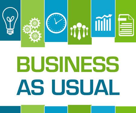 Business As Usual Green Blue Stripes Symbols Stock fotó