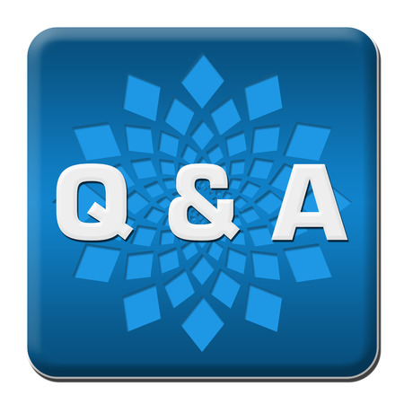 Q And A - Questions And Answers Blue Rounded Square With Element Фото со стока
