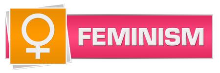 Feminism Pink Orange Horizontal Stock Photo