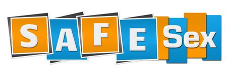 Safe Sex Blue Orange Stripes Squares