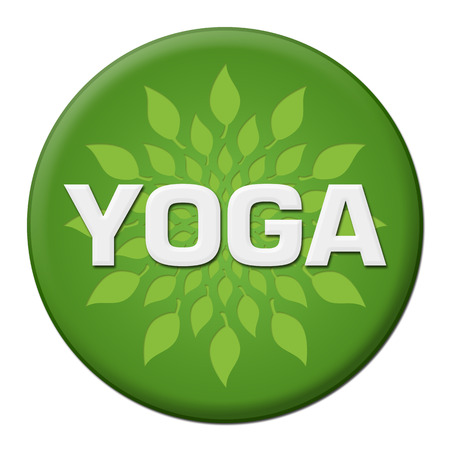 Yoga Green Leaves Circle Badge Style