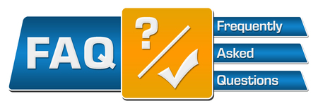 FAQ - Frequently Asked Questions Blue Orange Rounded Squares Horizontal
