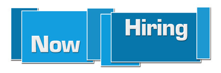 Now Hiring Blue Square Boxes Stock Photo