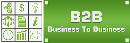 B2B - Business To Business Green Business Symbols Grid Left