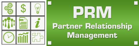 PRM - Partner Relationship Management Green Business Symbols Grid Left