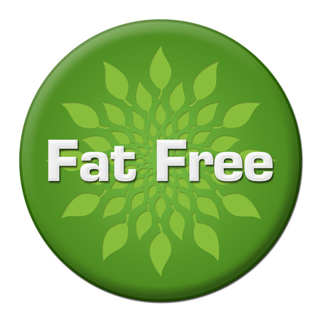 Fat Free Green Leaves Circle Badge Style Banco de Imagens - 113026734
