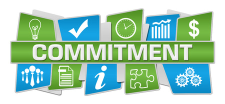 Commitment Blue Green Up Down Symbols 写真素材
