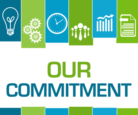 Our Commitment Green Blue Stripes Symbols Stock Photo