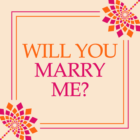 Will You Marry Me  Pink Orange Floral Square Stock fotó