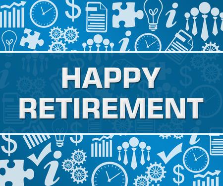 Happy Retirement Business Symbols Texture Blue Background Square