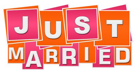 Recién casados, naranja, rosa, cuadrados, rayas Foto de archivo