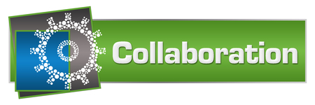 Collaboration Dotted Gear Green Blue Squares Horizontal Banco de Imagens