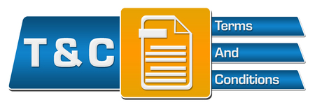T And C - Terms And Conditions Blue Orange Rounded Squares Horizontal Stok Fotoğraf