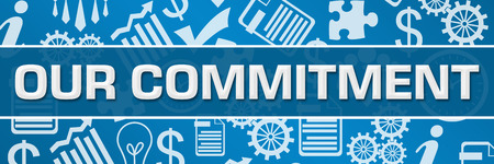 Our Commitment Business Symbols Texture Blue Horizontal Stockfoto