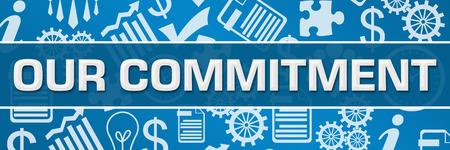 Our Commitment Business Symbols Texture Blue Horizontal 免版税图像