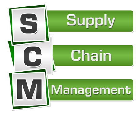 SCM - Supply Chain Management Green Grey Squares Vertical