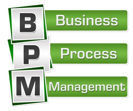 BPM - Business Process Management Green Grey Squares Vertical