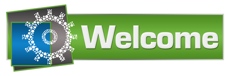 Welcome Dotted Gear Green Blue Squares Horizontal