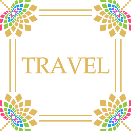 Travel Colorful Floral Square 版權商用圖片