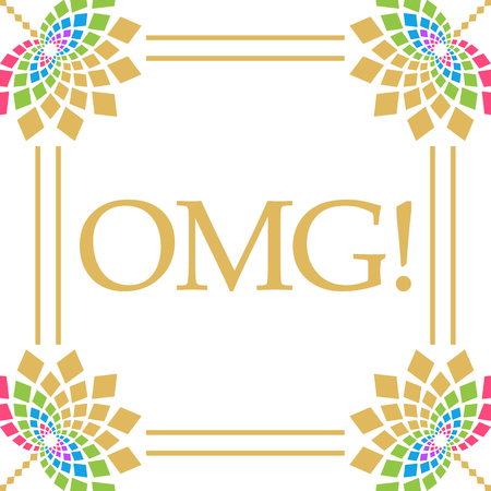 OMG - Oh My God Colorful Floral Square Stock Photo