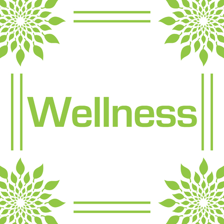 Wellness Green Leaves Circular Frame Stock Photo