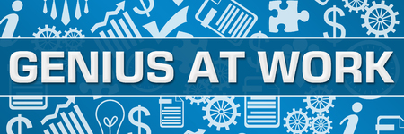 Genius At Work Business Symbols Texture Blue Horizontal Stock Photo - 118847650